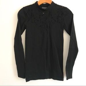 Bebe Black Stretch/Fitted Blouse Top
